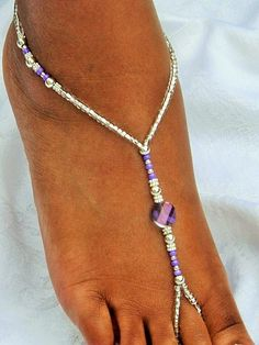 Purple Barefoot Sandal Foot Jewelry Lavender by SubtleExpressions