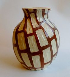 Carved Ceramic Vase Brown and White Rectangles by calee1984