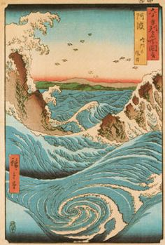 Japanese print - water - water flow