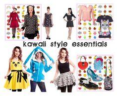 """Kawaii Style Essentials"" by bluebanana ❤ liked on Polyvore featuring Hell Bunny, Urban Junk, Tokidoki, Dr. Martens, Irregular Choice and Voodoo Vixen"
