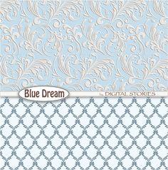 Damask Digital Paper: DAMASK BLUE DREAM digital от DigitalStories
