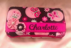 Pink and Black Butterfly Decorated Diaper Wipes Case with Baby's Name - pinned by pin4etsy.com