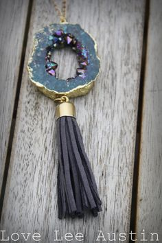 Long Gold Chain and Bead Necklace with Electroplated Druzy Geode Pendant and Gray Leather Tassel www.loveleeaustin.etsy.com bohemian love lee austin tx tassle drusy gold silver multi colo gem stone