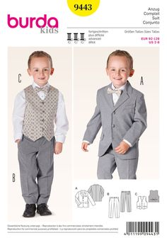 Sewing Pattern to Make  FORMAL CLOTHES FOR SPECIAL LITTLE BOYS!  Patterns included for: fitted suit jacket with front and back seams, flap pockets, breast pocket, collar, lined pants with front fly and zipper, waistband with button and belt loops, side pockets vest with front buttons, slit pockets, back darts with belt  Sizes 2 years 3 years 4 years 5 years 6 years 7 years 8 years  Burda 9443 Brand new and un-cut. From a smoke and pet free home. ~ Check out our Great Shipping Rates! ~ Buy…