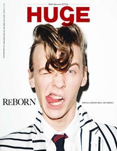 Alexey Galetskiy cover the April 2012 issue of Huge magazine, photographed by Terry Richardson and styled by Tsuyoshi Noguchi.