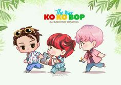 Kai Baekhyun Chanyeol~Kokobop Will be updated with other members version when their teasers are out ♡ Kpop Exo, Exo Kokobop, Exo Kai, Chanyeol Kokobop, Baekhyun Fanart, Kpop Fanart, Kyungsoo, Exo Cartoon, Exo Anime