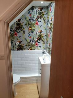 Home décor · small understairs toilet, subway tiles and holden lemur print wallpaper cloakroom toilets, cloakroom toilet Downstairs, Bathroom Under Stairs, Home, Small Toilet Room, Small Toilet, Small Downstairs Toilet, Bathroom Design Small, Bathroom Decor, Bathroom Inspiration