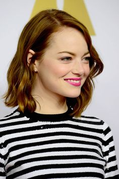 Emma Stone in stripes at the Oscar Nominees' Luncheon|Lainey Gossip…