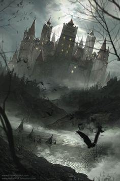 Vampire, Goth and Halloween art collection Gothic Castle, Dark Castle, Fantasy Castle, Vampire Castle, Dracula Castle, Vampires, Dark Fantasy, Fantasy Art, Castle Tattoo