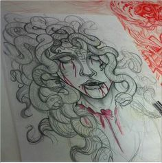 Medusa ink idea >>led dad and no blood on her neck (not decapitated) Medusa Tattoo, Medusa Drawing, Medusa Art, Piercing Tattoo, Piercings, Thigh Piece Tattoos, Ink Addiction, Desenho Tattoo, Greek Art