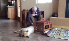 Lisa told BuzzFeed that her dog, Roscoe, is a 3-year-old rescue German Shepherd Lab. The moment Roscoe greeted him at the door, Lisa's dad began petting and talking to him. | The Way This Man With Alzheimer's Transforms When A Dog Is In The Room Will Make You Melt