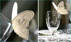 name cards at the table - for wine or water glasses - in any shape! love it!
