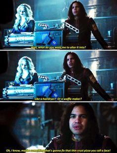 """I know, maybe something that's gonna fix that thin crust pizza you call a face!"" - Cisco and Killer Frost #TheFlash"