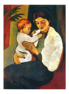Mother and Child by August Macke - August Macke - Toile Artwork