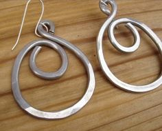 Big Hoop Earrings  Swirl Hoops Light Weight by nicholasandfelice