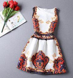 Cute print vest dress
