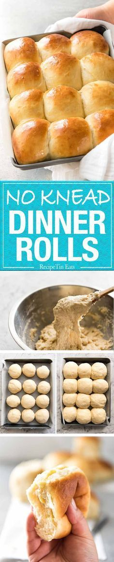KNEAD Dinner Rolls These NO KNEAD Dinner Rolls are like magic! No stand mixer, just mix the ingredients in a bowl! These NO KNEAD Dinner Rolls are like magic! No stand mixer, just mix the ingredients in a bowl! Weight Watcher Desserts, Bread Recipes, Baking Recipes, Pan Relleno, Yeast Rolls, Bread Rolls, Biscuit Bread, Yeast Bread, Recipe Tin