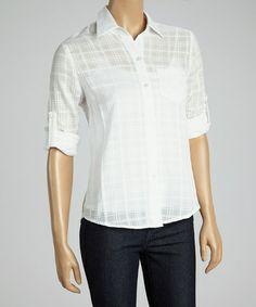 White Subtle Plaid Button-Up by Dani Collection #zulily #zulilyfinds