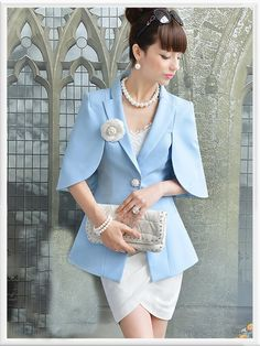 Morpheus Boutique  - Blue Trench Designer Hem Jacket..So beautiful for the office....