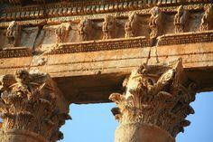 Heliopolis in Baalbek, Lebanon - detail of Corinthian order capitals - Roman temple
