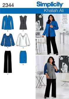 2344 Misses' & Plus Size Sportswear Misses' & Plus Size Khaliah Ali Collection pants, skirt, jacket, vest and knit top. Separate patterns included for Misses' B, C, D cup sizes and Women's C, D, DD cup sizes