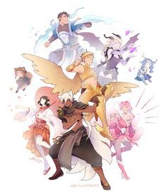 Storybook OCs [Commissioned Piece] by ABD-illustrates on DeviantArt Fantasy Character Design, Character Design Inspiration, Character Concept, Character Art, Concept Art, Dnd Characters, Fantasy Characters, Pelo Anime, Dnd Art