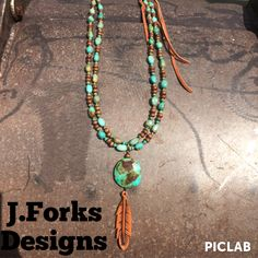 """J.Forks Double Strand American Turquoise and Wood with Hand Tooled Leather Feather 34"""" Necklace!"""