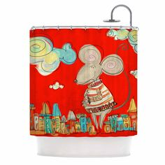 "Carina Povarchik ""Urban Mouse - Red "" Teal Yellow Shower Curtain"