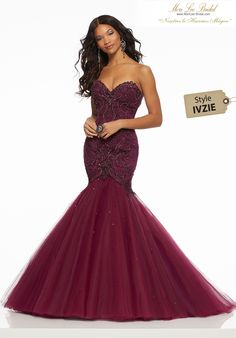 efe62568ec4 Beaded Tulle Sophisticated Mermaid Gown Featuring a Sweetheart