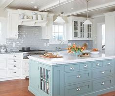 Best 25+ Blue Kitchen Island Ideas On Pinterest | Painted Island Regarding White And Blue Kitchen