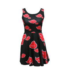 PLEASE NOTE: Due to high demand, items ordered will ship in 7-10 business days. Bring forth the dawn of world domination when you wear this incredibly awesome Akatsuki dress, an officially licensed Naruto product. Made from a soft stretch fabric, this dress fits close to the body and flares out at the waist. Made from 86% Polyester, 14% Spandex Soft, stretchy, lightweight and quick drying fabric Fit and flare shape Machine Washable, Line Dry