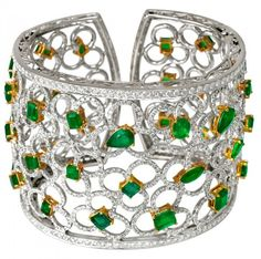 18K White Gold Emerald And Diamond Cuff