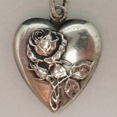 Heart Charm With Roses Antique 800 Silver Germany Detailed | eBay