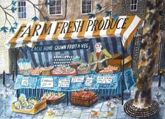 'Farm Fresh Produce' by Emily Sutton (ink and watercolour on paper) Watercolor Illustration, Botanical Illustration, Watercolour, Glasgow School Of Art, Food Illustrations, Food Art, How To Draw Hands, Shop Fronts, Illustrators
