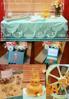 Beach Themed Baby Shower Collage...I like all BUT the cake is not for me...I'd like a more classic, clean looking cake top with cupcakes :)