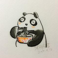2014.4.13 【一日一大熊猫】 ラーメンは中国から伝わったものだけど 長い年月で日本独自の進化をしたね。 日本人のソウルフードはオニギリだけど、 ラーメンもカレーライスも大好きだよねー。 #拉麺