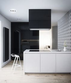Minimal kitchen via Vincent Cat - Interior Design Cutout Architects White Interior Design, Interior Exterior, Interior Design Kitchen, Interior Architecture, Interior Decorating, Home Design Decor, House Design, Design Ideas, Kitchen Dinning