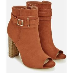 Justfab Booties Hadriel ($40) ❤ liked on Polyvore featuring shoes, boots, ankle booties, red, stacked heel booties, open toe boots, red high heel booties, open toe booties and justfab boots