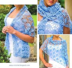 Easy blue Women Crochet Lace Wrap for Summer. Stitch diagram provided.