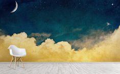 Our Best Selling Wall Murals – WallsNeedLove Field Wallpaper, Rose Wallpaper, Wall Wallpaper, Yellow Cloud, Blue Clouds, Star Painting, Diy Painting, Gold Painted Walls, Sky Nursery
