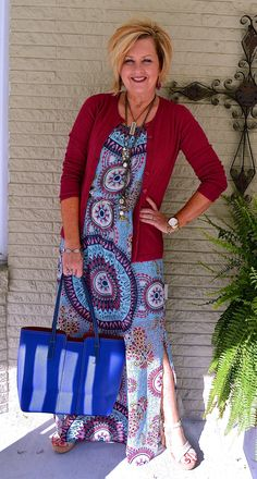 50 Is Not Old Maxi Dress Plunder Jewelry Bright Blue Fashion over 40 for the everyday woman Fashion For Women Over 40, 50 Fashion, Fall Fashion Trends, Women's Summer Fashion, Blue Fashion, Women's Fashion Dresses, Plus Size Fashion, Autumn Fashion, French Fashion