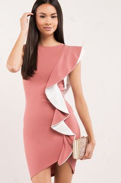 Color Block Ruffle Midi Dress in Pink 77615a9578ec