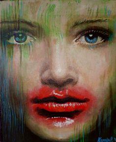 "Painting, Acrylic on canvas, 25x35, ""Lipstick"""