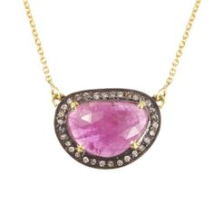 Pink Sapphire Diamond Pendant | Didi Jewellery