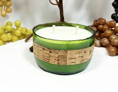 Upcycled Wine Bottle Soy Candle/Repurposed by VinoCandleCellars