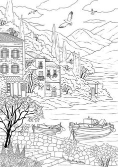 This is a DOWNLOADABLE COPY (NOT a printed physical copy) of an original hand-drawn adult coloring page designed by Favoreads that features a European Sea Coast. #Line_Art #One_line_art #Illustrations #Product_line_art #Image_to_Vector #Line_Drawing #Vector_line_art #coloring_page #coloring_book_page #minimal_line_art #minimal_sketches #one_line_drawing #illustrator #illustrationartists #illustration_daily Printable Adult Coloring Pages, Coloring Book Pages, Summer Coloring Pages, Coloring Sheets For Kids, Kids Coloring, Adult Colouring Pages, Coloring Apps, Holiday Travel, Holiday Trip