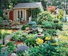 Garden And Lawn , The Perfect Garden Style : Cottage Garden Style With Pond And…