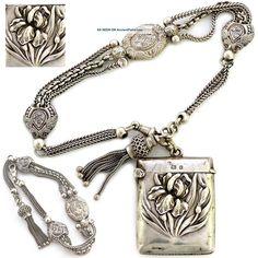 Antique Sterling Silver Albertina Fob Chain & Art Nouveau Vesta Case Bracelet