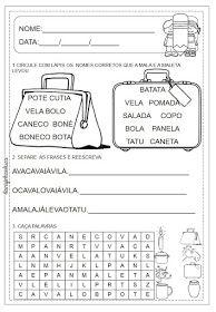 atividades de alfabetização do livro : Cabe na Mala de Ana Maria Machado