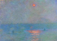 Waterloo Bridge, Sunlight in the Fog, 1903 by Claude Monet. Impressionism. cityscape